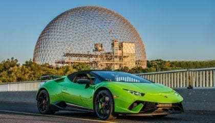 Lamborghini Huracán Performante Spyder, in front of the Biosphere